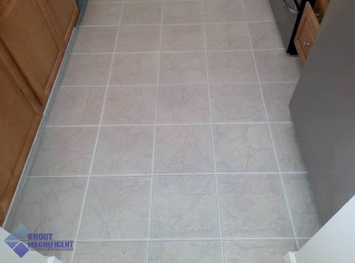 after cleaning grout lines