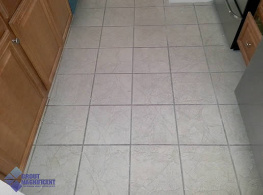 before cleaning grout